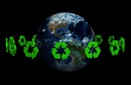 A ring made of recyclable 3D symbol around the earth Stock Photo