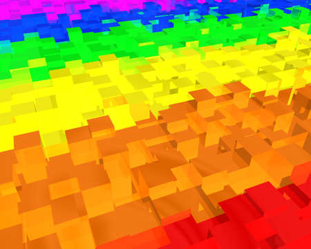 background made of rainbow colored 3d rectangle