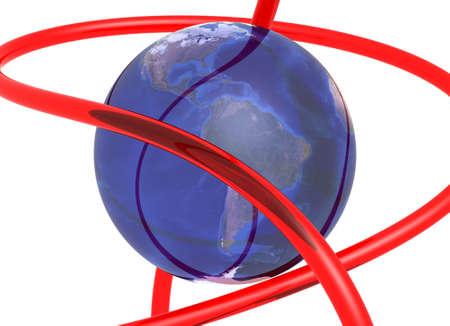 red tube: 3d riflettendo terra avvolto con tubo rosso su sfondo bianco