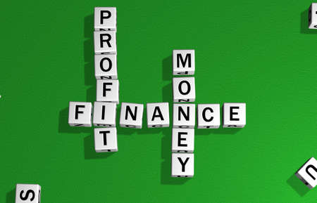 dice on a green carpet making the word money, finance and profit