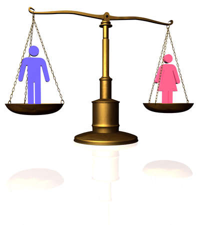 Man and woman symbol compared on a scale Stock Photo