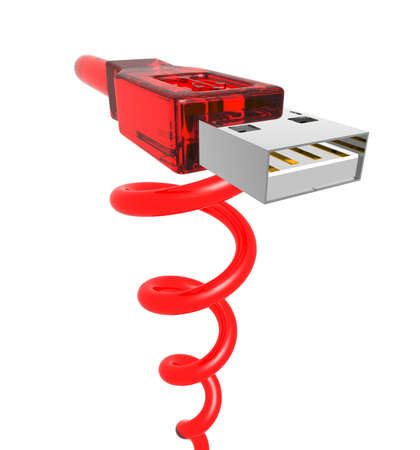 jacks: 3d rendering of a red usb cable with spiral cord
