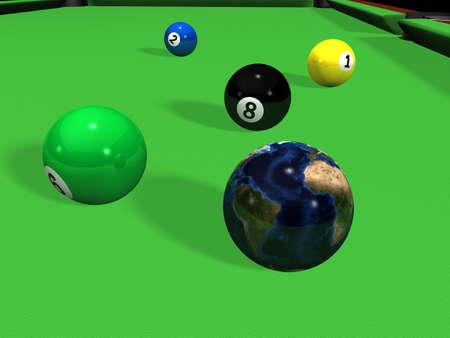 ビリヤード テーブルの上の地球とプールのボール