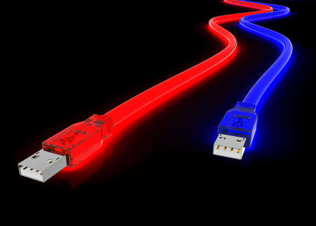 jacks: red and blue glowing usb cord made of clear plastic