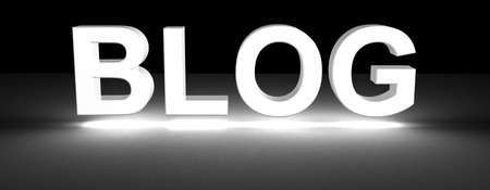 blog section title made of 3D glowing white letters Stock Photo