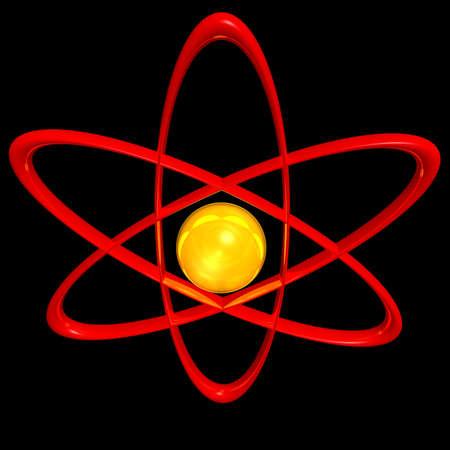 atomic symbol: stylised 3d render of an atomic symbol on a black background