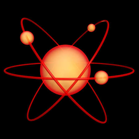 3d render of an atomic symbol on a black background