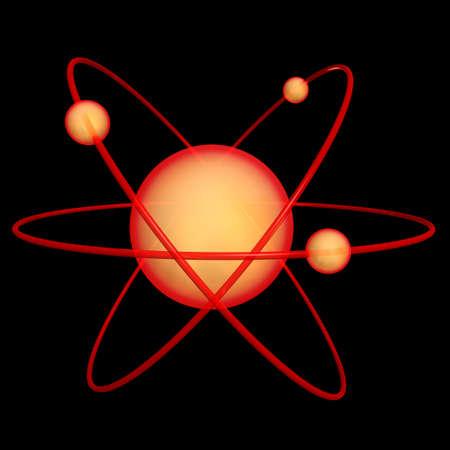 atomic symbol: 3d render of an atomic symbol on a black background