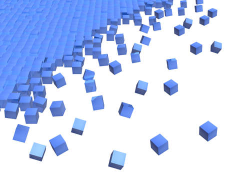 detach: rendering of blue reflecting 3d cube on white background