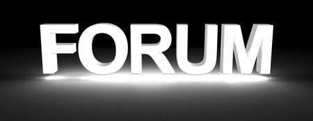 discussion forum: forum section title made of 3D glowing white letters Stock Photo