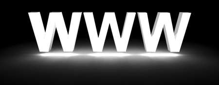 www section title made of 3D glowing white letters Stock Photo