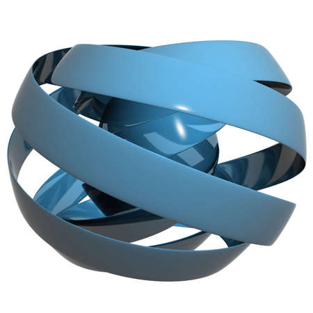 material: 3d render of a ribbon made sphere with reflective material Stock Photo