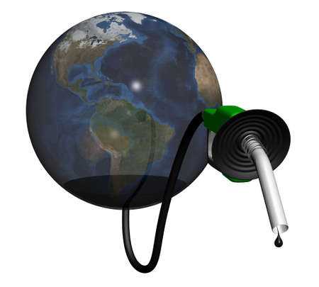 gas pump nozzle coming out of earth. concept of global oil shortage