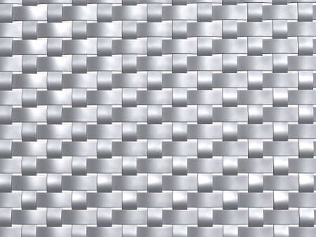 3d render of a metallic grey weave pattern, front view