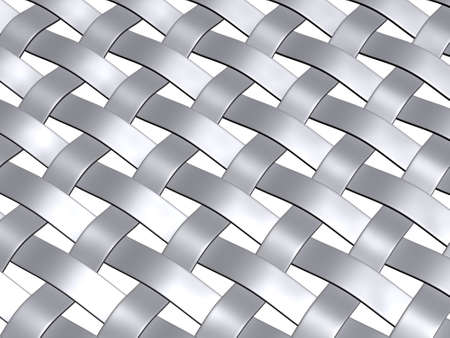 3d render of a metallic grey weave pattern,angle, view