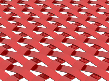 3d render of a metallic red weave pattern on white background Stock Photo