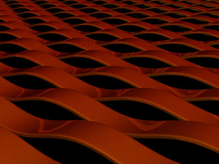 3d render of abstract red waves with reflections