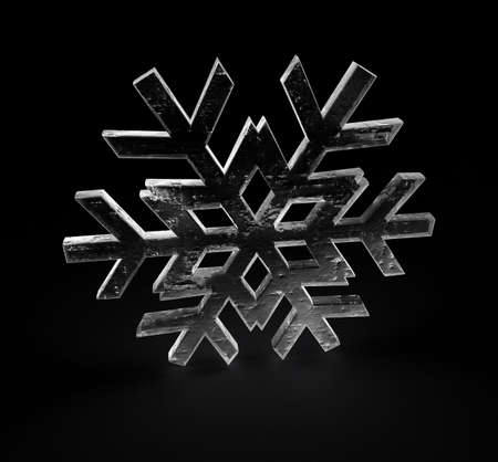 a 3D render of a snowflake with ice texture