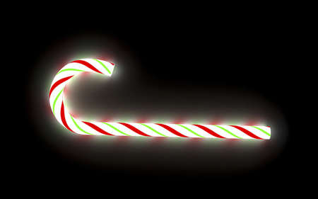 3d render of a glowing christmas candy cane Stock Photo