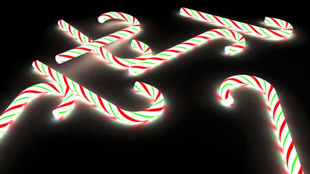 glowing 3d candy cane spilled all over the ground