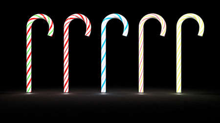 a row of different color christmas candy cane, 3d render