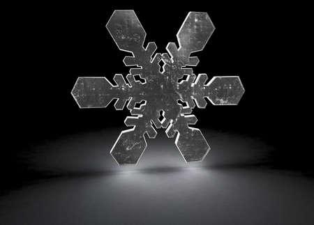 3d render of a snowflake glowing on a black floor