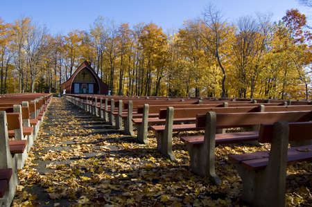 an outdoor church during a sunny autumn day