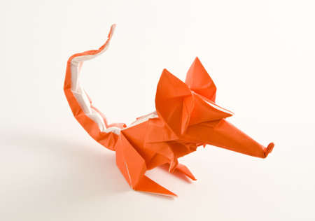 a close shot of an origami mouse isolated on white Stock Photo