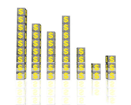 a graphic chart made of metallic block with yellow dollar sign