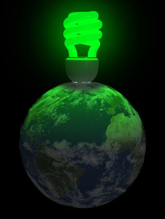3d render of a green fluo compact lightbulb lighting the earth