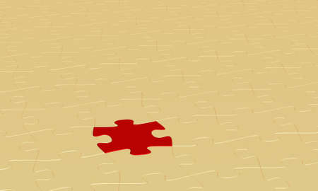 3d rendering of a puzzle background with one red piece