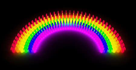 glowing men pictogram placed to form a rainbow
