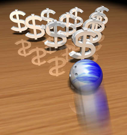a bowling ball in movement, about to hit some money symbols
