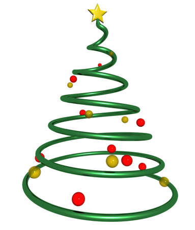3d rendering of a christmas tree made from a spiral shape with a yellow star on top