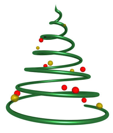 3d rendering of a christmas tree made from a spiral shape