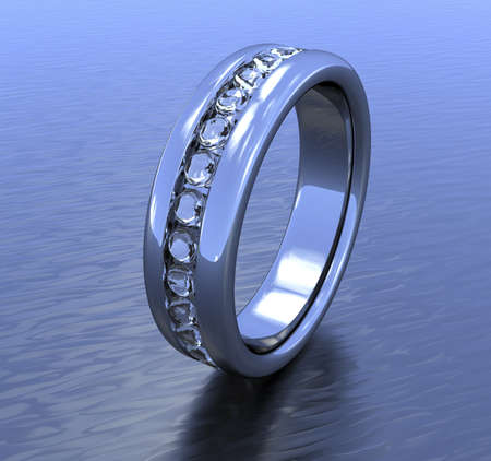 A silver ring with a ring of diamond all around