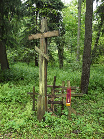 Orthodox cross in the forest Stock Photo
