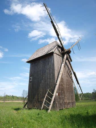 Molino de viento en Bialowieza Foto de archivo