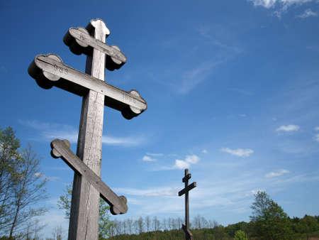 Orthodox crosses in Bialowieza