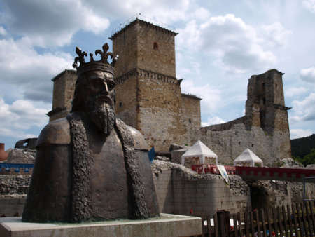 Monument of king in front of Miskolc castle Stock Photo