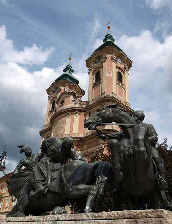 Monument near franciscian church in Eger Stock Photo