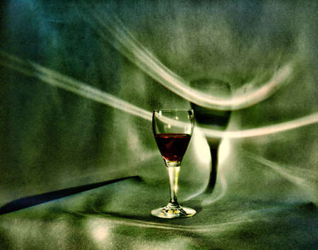 wine road: Glass of red vine Stock Photo