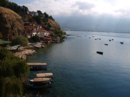 Ochrid lake and city Stock Photo