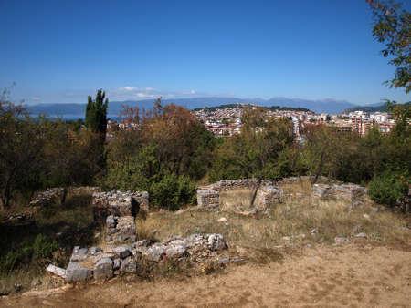 Ruins of old church from Ochrid Stock Photo