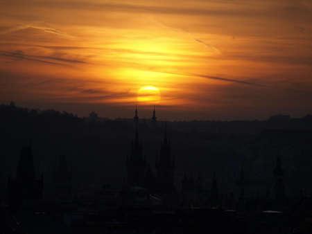 Sunset on the Prague