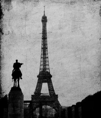 Eiffel tower in Paris like old drawing photo