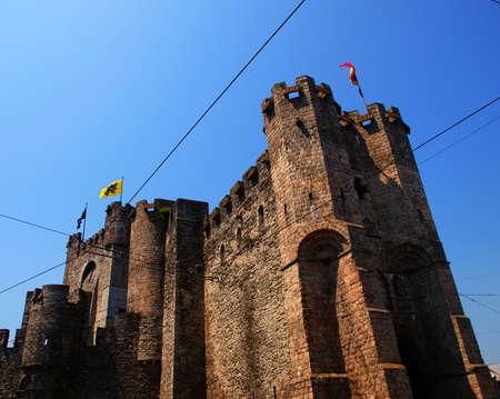 siege: Gravensteen medieval castle from Gent Belgium at sunset