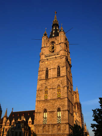 Town hall at the sunset in Gent Belgium