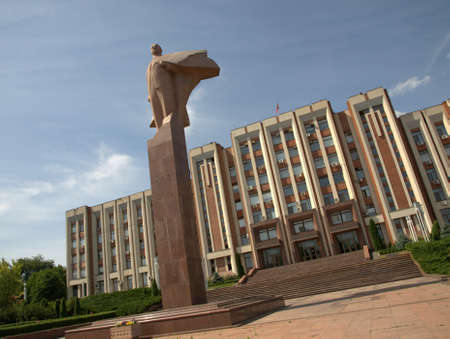 glorious: Lenin monument and city hall from Tiraspol, Transnistria