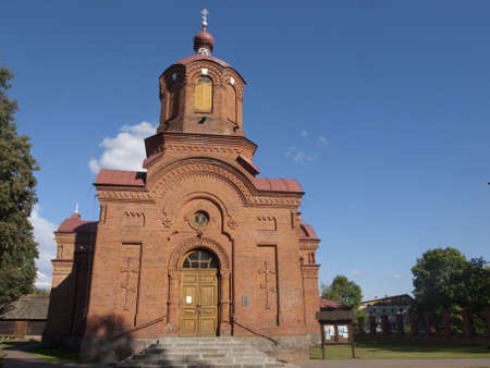 Front of orthodox church from Bialowieza Stock Photo
